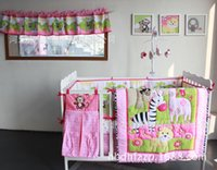 baby crib bedding sets monkey - Stereo embroidery Monkey Climb up tree Crib Cot Bedding Set Quilt Bumper bedskirt Mattress Cover baby bedding sets