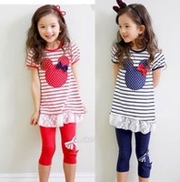 minnie mouse - girl suit shirt dress leggings girls minnie mouse clothing set short sleeve summer cartoon stripe minnie set with bow in stock