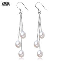 Cheap Veeka jewelry 925 sterling silver dangle earrings natural freshwater pearl earrings for women gift cultured fresh water pearl