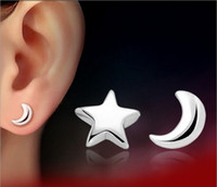 Wholesale 2015 New Korean Fashion Sterling Silver Earrings Moon And Star Design Women fashion Jewelry Piercing Stud Earrings
