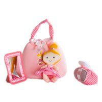 ballet handbag - Pink Plush Fabric Ballet Girl Mini Handbag tape recorder Soft plastic mirror Play set for Baby Girl