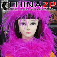 al por mayor al por mayor de la boa de avestruz-El fabricante CHINAZP del oro vende al por mayor la venta al por mayor barata de la pluma de la avestruz del color de rosa caliente de 2yards / lot 35G Boas