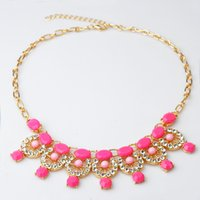 Cheap High quality 2015 choker statement necklace candy color woman bijoux femme necklaces costume jewelry N523