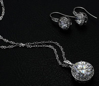 sugar white sugar - 18K white gold plated austrian crystal sugar pendant necklace earrings jewelry set
