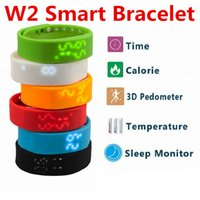 Wholesale W2 Bracelets Smart Wristbands Watch Slim Bracelet Watches Wristband Rushed Step Fitness Tracker D Pedometer Sleep Monitor Thermometer