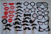 Cheap Free Shipping, wholesale NEW product 38 PCS SET MUSTACHE ON A STICK Wedding Party Photography Photo Prop Mask Funny