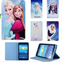 Wholesale For Samsung galaxy tab T230 tab3 P3200 case Cartoon Frozen Elsa Anna Stand Leather cases For iPad air Ipad air2 Smart Cover