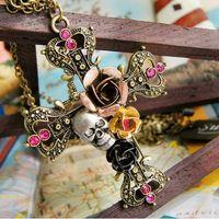 amethyst crosses - FA Novelty Retro Fashion Pendant Necklaces Jewelry Women Gothic Stylish Crystal Skull Rose Cross Necklaces cm