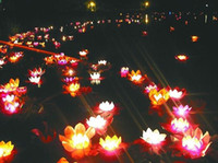 best floating candles - Best gift Wishing Lamp lotus lamps Paper Flower Lotus Wish Lantern Water Floating Candle Light
