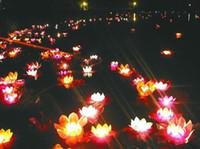 best floating candles - Best gift Wishing Lamp lotus lamps Paper Flower Lotus Wish Lantern Water Floating Candle Light