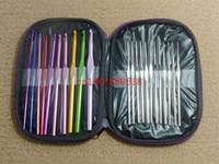 achat en gros de 22pcs aluminium crochet-Fedex DHL gratuites expédition 22pcs / set 22pcs aluminium Crochet Aiguilles à tricoter tricot Points Weave Artisanat cas, 20set / lots