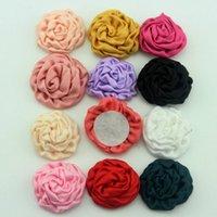 Wholesale 3 CM Satin Rose Flowers For Baby Headband Children Ribbon Rose Floral Polyester Fabric Flower