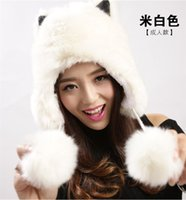 Wholesale New Womens Kids Winter Faux Fox Fur Trapper Hats Thick Winter Warm Fox fur Ear Warmers with Cute Fur balls WH11