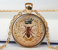 bee pendant - Royal Crown and bee pendant crown and bee necklace pendant crown and bee jewelry art pendant charm crown pendant necklace pendant