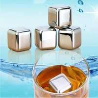Wholesale PACK OF FOOD STAINLESS STEEL WHISKY STONES BEER DRINK COOLER CHILLING ICE CUBE ROCK REUSABLE CHILLER GLACIER