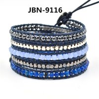 beaded jewelry india - Leather cuff bracelets India agate beads multilayer Bracelets for men layers beaded Bracelets with charms jewelry for men JBN