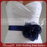 Wholesale Spring Bridal Accessories Sash Custom Made Royal Blue Silk Like Satin Bridal Sashes with Hand made Flower