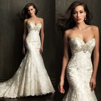Cheap Vintage 2015 Sweetheart Lace Mermaid Wedding Dresses for Beach Wedding Party Strapless Backless Beaded Chapel Train 9051 Berta Bridal Gowns