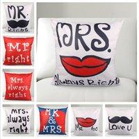 Polyester / Cotton wholesale cushion covers - Lovers Lips Beard Cushion Cover Set Decorative Sofa Car Bed Cushion Cushion Cover Gift Xmas Present