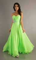 Cheap Free Shipping Lime Green Prom Dresses Cheapest Sweetheart Beaded A Line Long Evneing Formal Dress Bridesmaid Gown Coctail Party Dress Stock