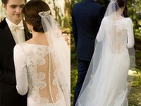 Reference Images bella wedding dress - Hollow Vintage Wedding Dresses Covered Button Twilight Bella Same Style Lace Applique With Long Sleeve Bridal Ball Gown Custom Made