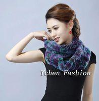 rabbit fur scarves - 2014 New Style Ladies Fur Scarves Winter Knitted Real Rex Rabbit Fur Scarf Long Fur Scarves YSC026