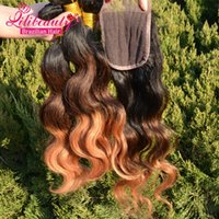 7e année tonne Ombre Weave Peruvian 100% Virgin Human Hair Weave Extension trois paquets avec fermeture lili Hair Brazilian Body Wave Hair