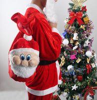 Wholesale Santa Claus Backpack - 500pcs Santa Claus backpack red pleuche gift bag candy bags for 2016 Christmas Supplies via FedEx ship