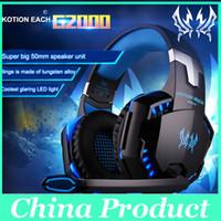 Casque d'écoute de jeu professionnel KOTION CHAQUE G2000 Casque d'écoute d'oreille avec micro Stéréo Bonne lumière de basse LED pour PC Jeu 010007