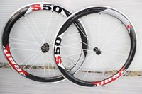 sram red - 2015 Latest Sram S50 carbon wheel C mm full carbon wheelset white red and black marks carbon wheels with Novatec hubs roue carbone