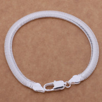 Wholesale with tracking number Top Sale Silver Bracelet M Flat snake chain Bracelet Silver Jewelry cheap