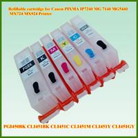 empty ink cartridges - 6Pcs Empty PGI PGBK CLI451 BK C M Y GY refillable ink cartridge with Chip for Canon PIXMA MG6340 IP7240 MG5440 MX724 MX924 printer