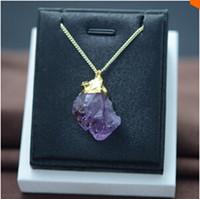amethyst stone sale - Hot Sale Fashion Rough Amethyst Natural Stone Pendant Necklaces Purple Crystal Druzy Drusy Quartz Vintage Necklace Women