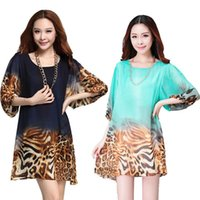 xxxl - 2015 Spring Summer Women s Lantern Sleeve Loose Leopard Print Chiffon Plus Size One Piece Summer Dress XXXL Vestidos LS517