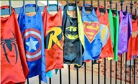 Wholesale 70CM long double bunk Superman cape cloak children Dance performances Halloween party batman avengers dress cape