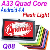 cheap tablet - Cheap Quad Core Tablet PC Inch Q88 A33 GHz Android OS FlashLight Wifi Dual Camera GB M RAM Multi Touch Capacitive Webcam Q8
