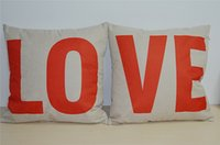 love chair - RED LOVE pc linen Chair Cushion high quality Cushion cover Car cushion case Soft Pillow CASE WEDDING GIFT