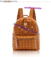 Wholesale Brand New man s bag and women s bag New south Korean rivet backpack leather printing backpack school bags