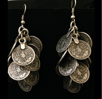 Wholesale Bohemian Gypsy Zamac Vintage Tibetan Silver Cluster Coin Statement Dangle Earrings For Women Pairs