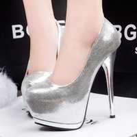 Wholesale European and American fashion waterproof nightclub fine with shallow mouth high heels burst crack waterproof shoes sequined shoes CM
