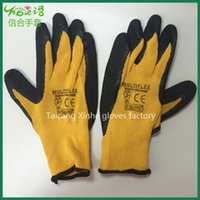 latex coated gloves - Anti static black latex coated yellow yarn glove Wear resistant palm coated gloves