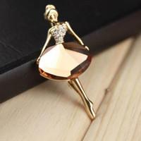 Wholesale New Fashion Women Elegant Ballet Girl Dancer Lady Ballerina Crystal Faux Jewelry Rhinestone Brooch