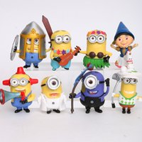 Wholesale Despicable Me minions Movie Character Figures hand to do toys Doll Toy Despicable Me Cake Topper Set