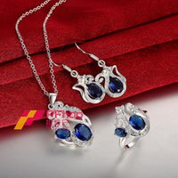 Wholesale 925 Sterling Silver Geometry Waterdrop Sapphire Crystal Zircon Necklace Earrings Ring For Women s Engagement Wedding Bride Jewelry Sets