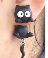 animal jewelry - New Womens Jewelry Accessories Sterling Silver Earring Stud Handmade Animal White Eyes Black Cat Polymer Clay Earrings