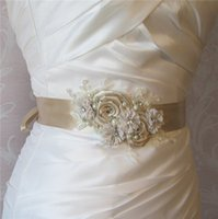 belly belts - 2015 Elegant Hot Selling Cheap Sexy Belly Belt Waist Crystals Pears Lace Applique Flowers Bow Belt Bridal Sashes Wedding Dress Sashes Belts
