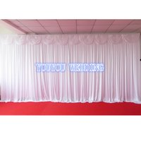 Wholesale White m H m L Shine knit Wedding Backdrop With Swag For Banquet Hotel Party Event Place Decoration Use