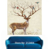 amazing hand painting art - Amazing Deer Hand painted Oil Painting on Canvas Unframed Mural Art for Living Room Office Decoration