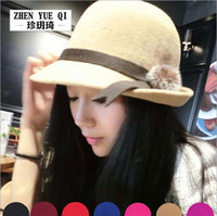 Wholesale 2015 Korean version of the fall and winter hat fashion hat ladies spring tide after Alice eaves wool fedora hat rabbit fur ball