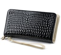 ans sports - 2016 Fashion Women Zipper Wallet Day Clutch Female Purse With Stone Pattern Embossed Patent Leather ANS PL